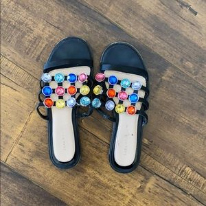 Zara Rainbow studded slides